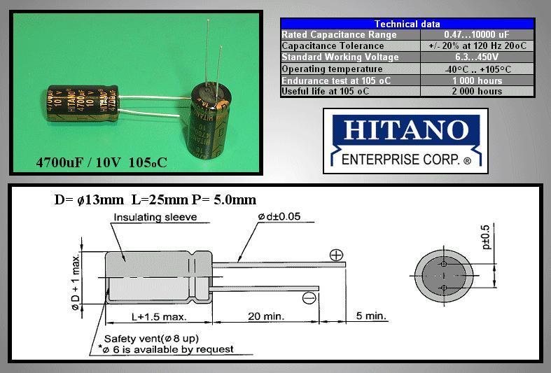 ELKO 4700uF 10V 105°C 13x26 Low-ESR EXR 4700/10P-105EXR H