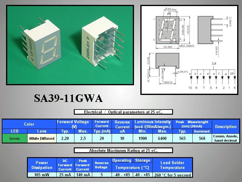 7 Szegmenses kijelző 10mm K.A.zöld SA39-11GWA