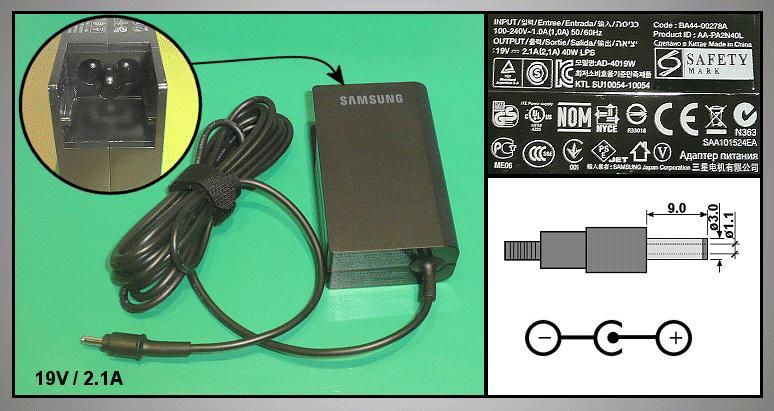 Töltő / adapter AD-4019W, 19VDC, 2.1A NOT-BA4400278A
