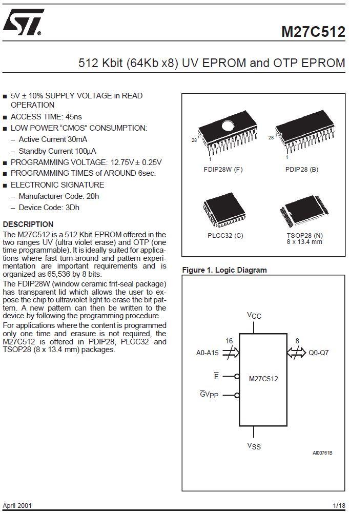 UV-EPROM 64Kx8 200ns 5V 28p. 27C512-200F1 -