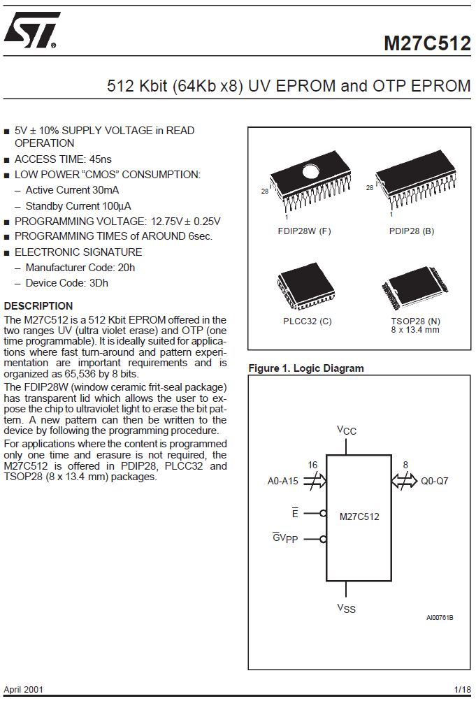 UV-EPROM 64Kx8 90nS 5V 28p. -40...+85°C 27C512-90F6 -