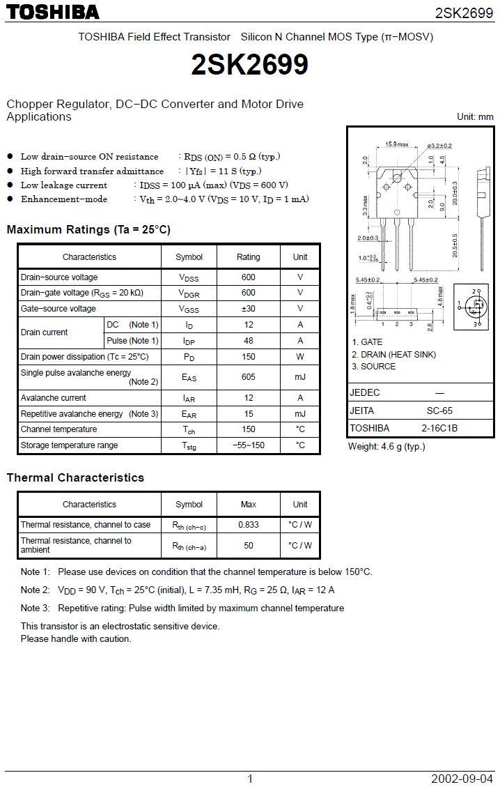 Tranzisztor N-MOSFET+Z 600V 12A/48Ap 150W 0.65R (6A) 2SK2699 2SK2699 -