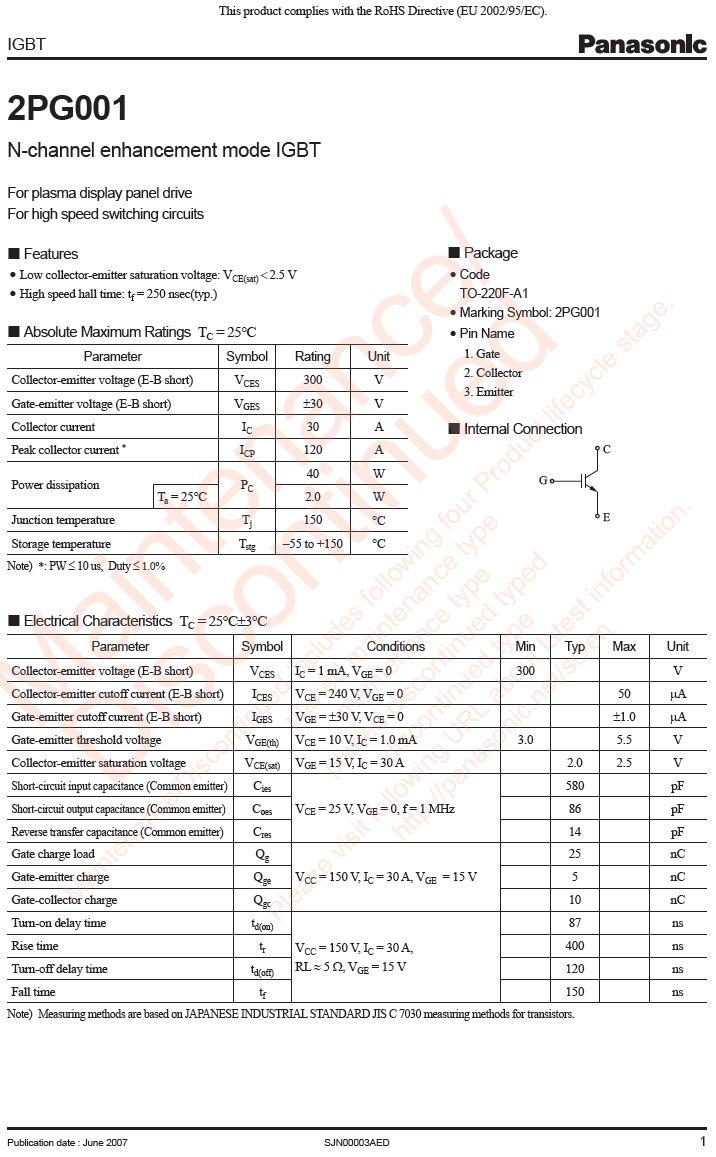 N-IGBT 300V 30A/120Ap. 40W Vce(sat)2V 2PG001