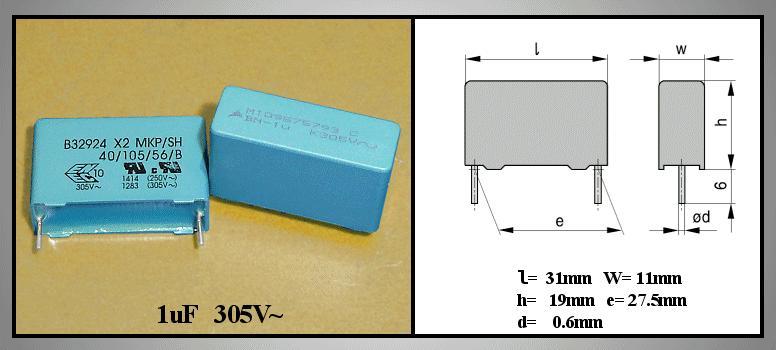 X2 kondenzátor 1uF 305VAC 10% RM-27.5 C 1U0 AC305 X2 27