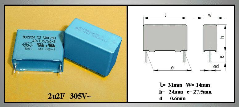 X2 kondenzátor 2.2uF 305VAC 20% L:27.5mm C 2U2 AC305 X2