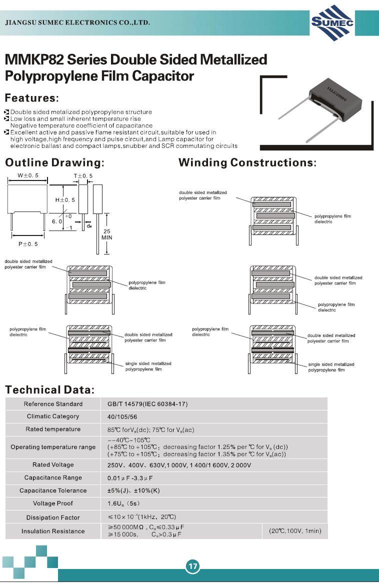 Kondenzátor 3.3nF 2000V 5% Polipropilén RM-15 C 3N3 2000MKP1