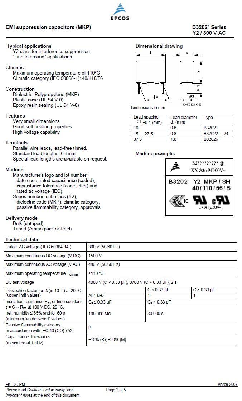 Y2 kondenzátor 10nF 300VAC ±20% RM-15 C 10N AC300 Y2
