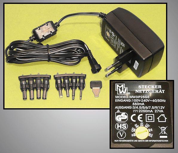 110...240VAC stabilizált tápegység 3...12VDC 2.25A 27W P.SUP.2250