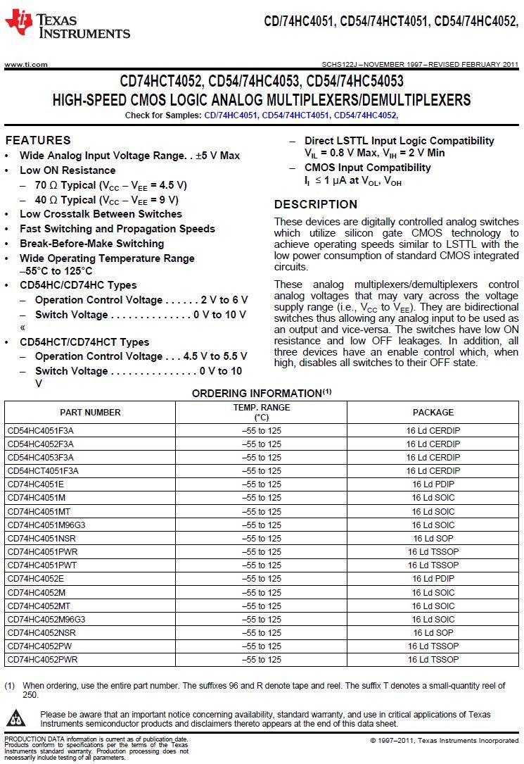 8-CHN ANALOG MUX/DEMUX 16p. 74HC4051-TSSOP