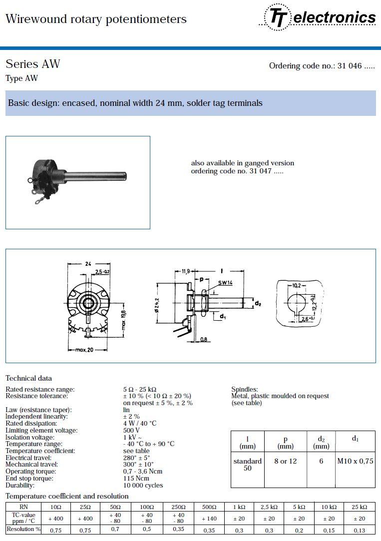 Potméter mono lineáris 6mm 220R 10% 4W POT.4W 220R