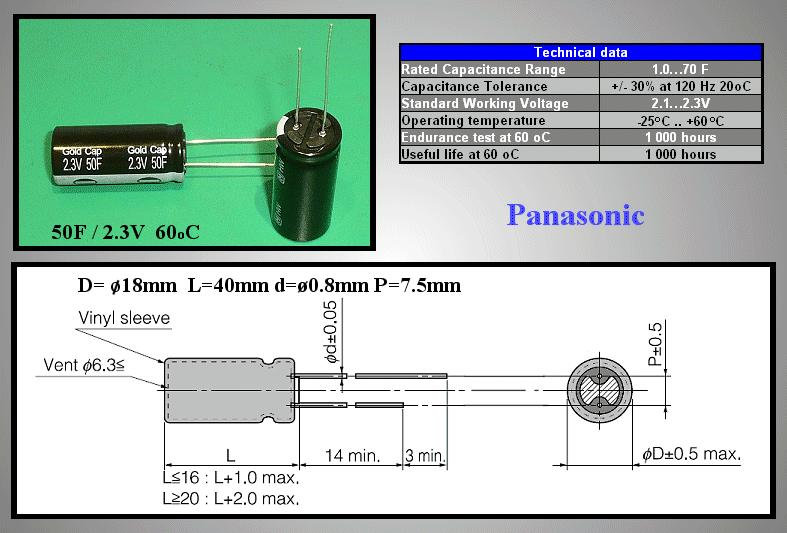 BACK UP kondenzátor 50F 2.3V 18x40 RM-7,5 BUC-50F-2V3RP