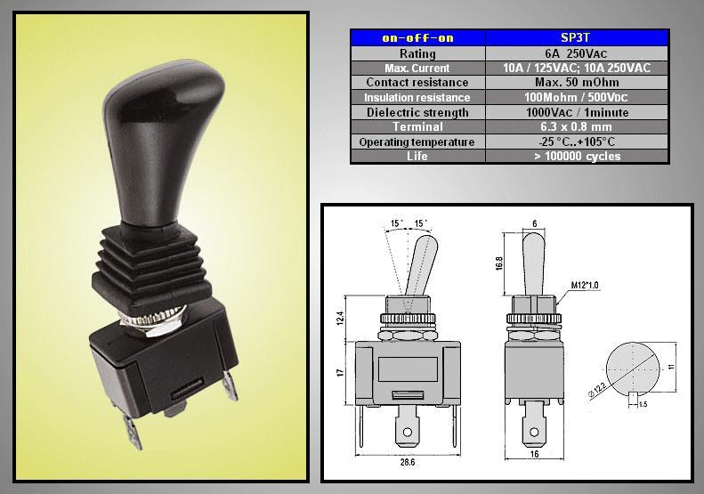 Miniatűr karos kapcsoló 250VAC 6A 1x3p. sarus SW2006S