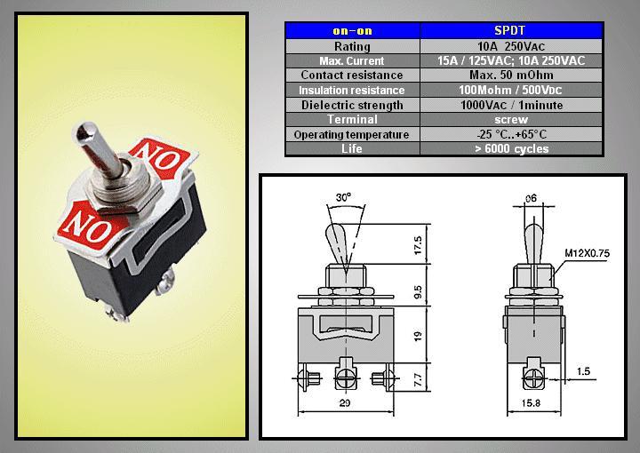 Miniatűr karos kapcsoló 250VAC 10A 1x3p. csavaros (TS-16) ON-ON SW2010CS/2
