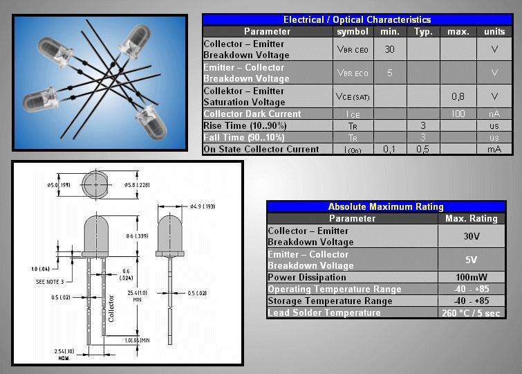 5mm NPN fotó tranzisztor 2p. 30V 940nm (víztiszta) L-53P3C
