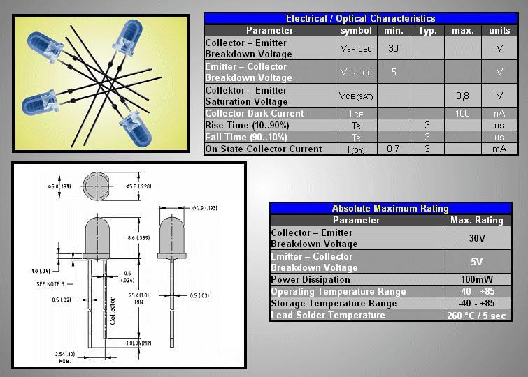 5mm NPN fotó tranzisztor 2p. 30V 940nm L-53P3BT