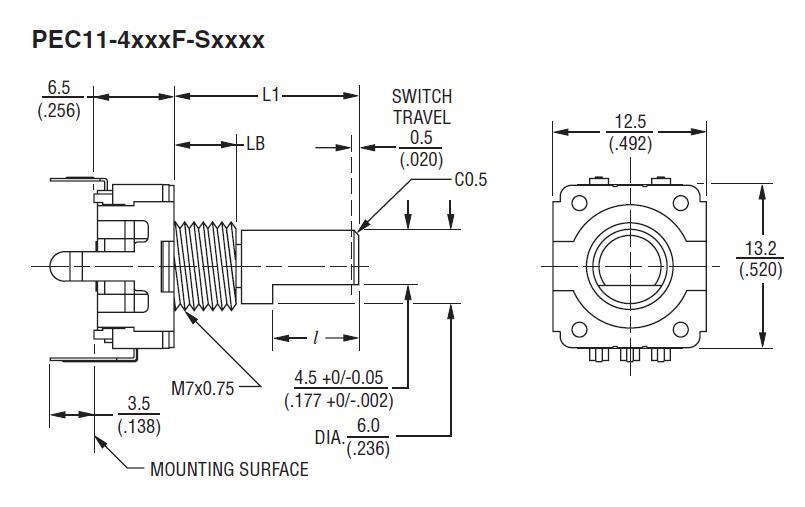 24 poziciós Incremental ENCODER / ROTARY +SW PEC114220FS0024