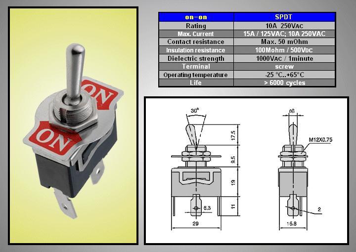 Miniatűr karos kapcsoló 250VAC 10A 1x3p. sarus (TS-16) ON-ON SW2010S