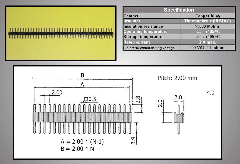 Egysoros tüskesor 2.0 40p.2.8/ 3.9mm0.5 STSF 40P L3/04