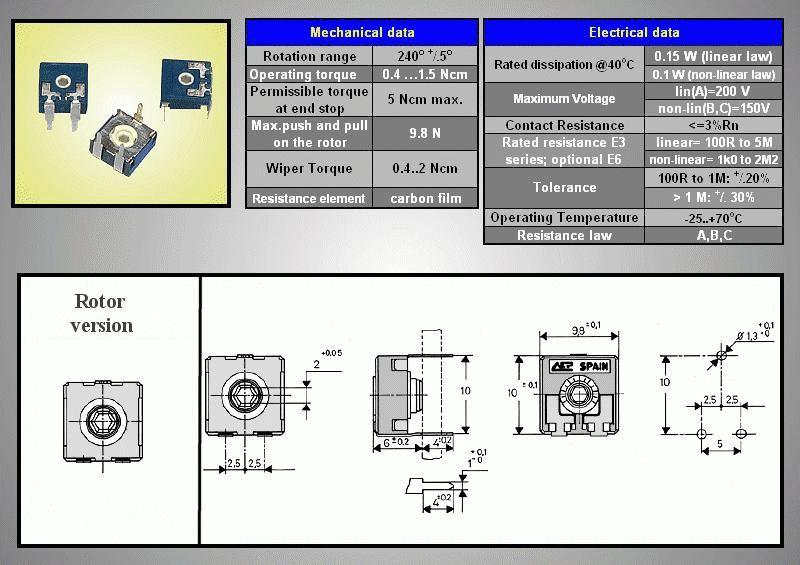 TRIMMER 10K 10mm fekvő, hatszöges ACP CA9MV TRIM 10K-10H/A
