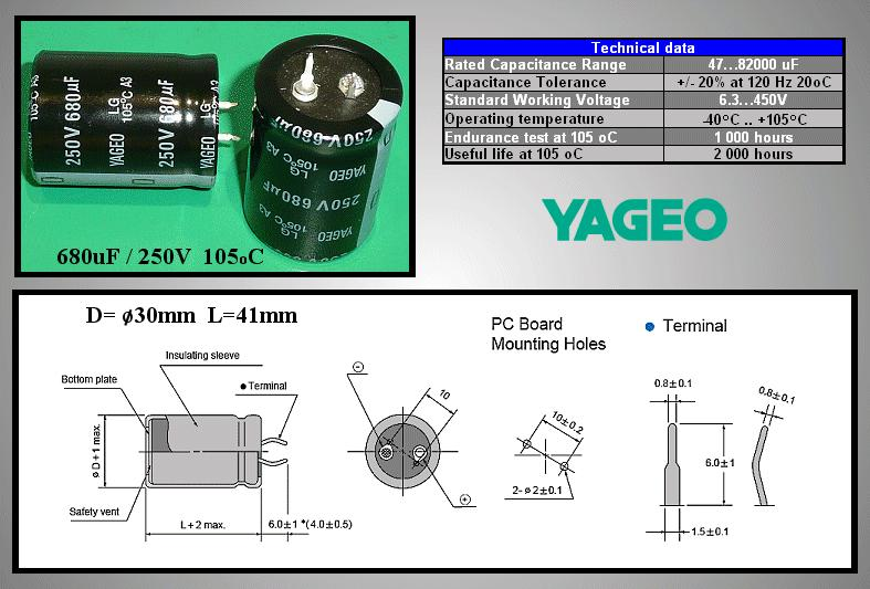 ELKO 680uF 250V 105°C 30x40 álló 680/250P-105 -