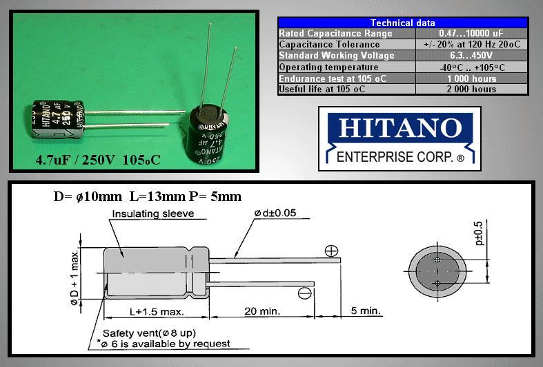 4,7uF 250V 105° 10x13 álló 4.7/250P-105 H -