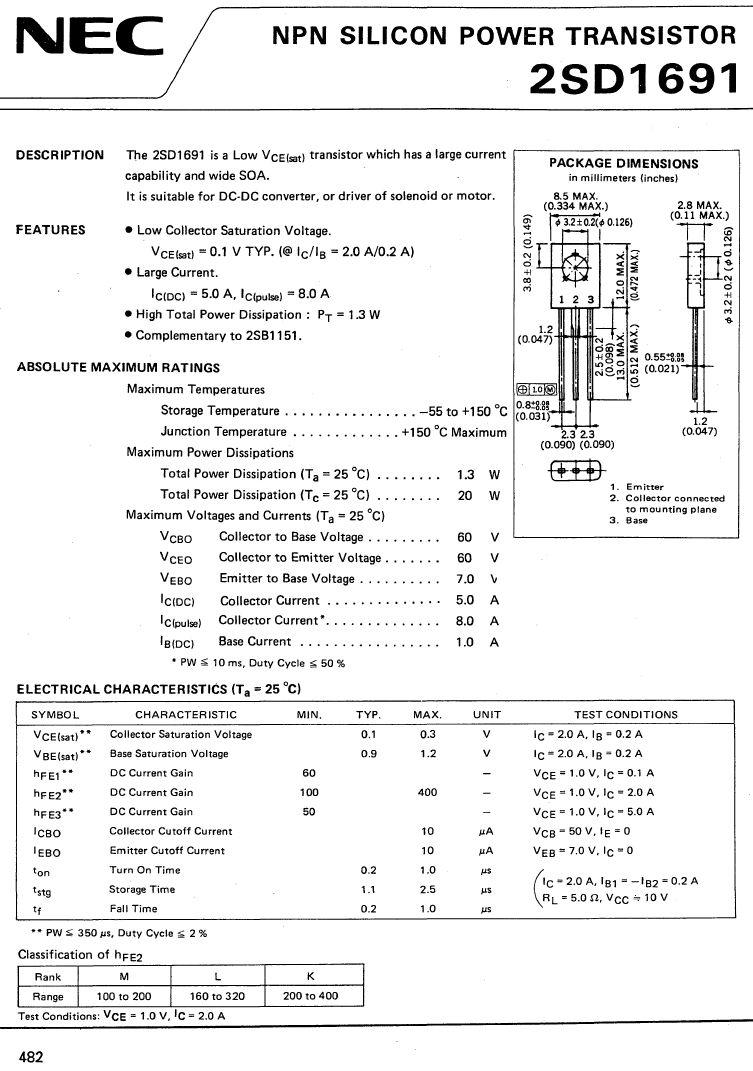 SI-N 60V 5A 20W VCE(sat) 0.1V hFE: 100-400 2SD1691