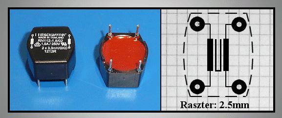 Hállózati zavarszűrő 2x3.3mH 250VAC 1.5A 0.17Ohm COILV2X03.3/1.5A