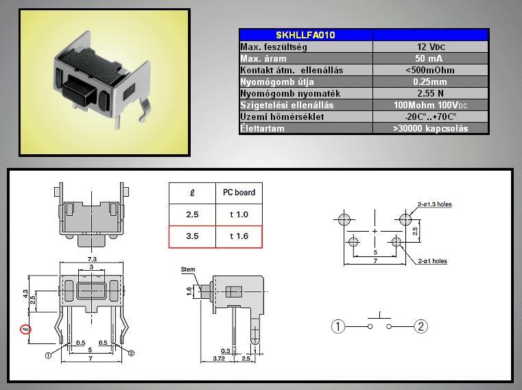 Mikrokapcsoló 6x3.5mm 4p. 90° gomb:1mm (nyomóerő:180g)