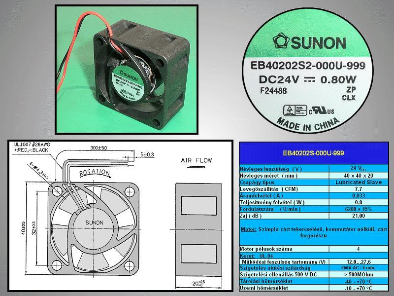 24V ventilátor 40x40x20 EB40202S2-000U-999 CY 4020/24-S2-999