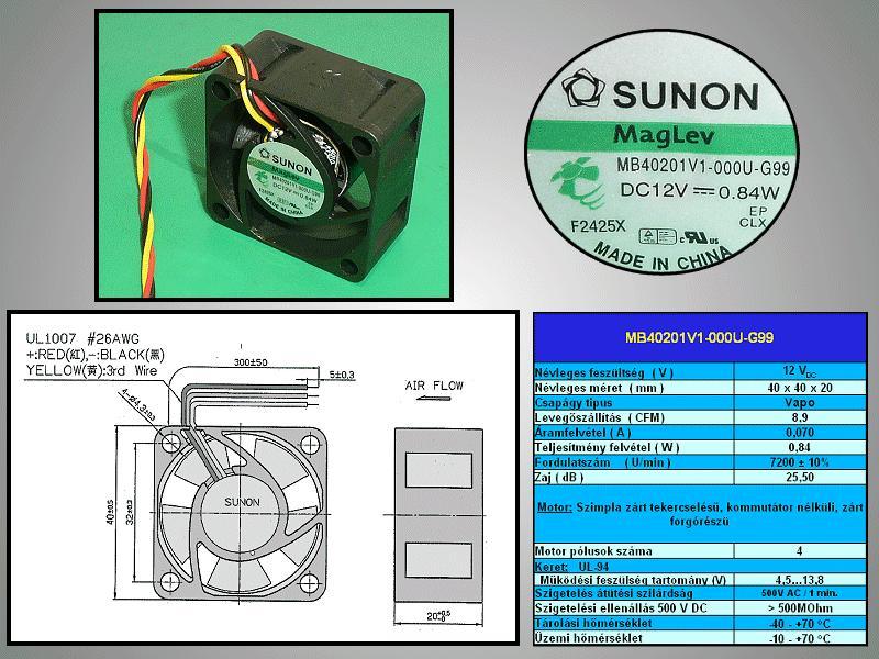 12V ventilátor 40x40x20 MF40201V1-G99 3vezetékes CY 4020/12-V1-G99