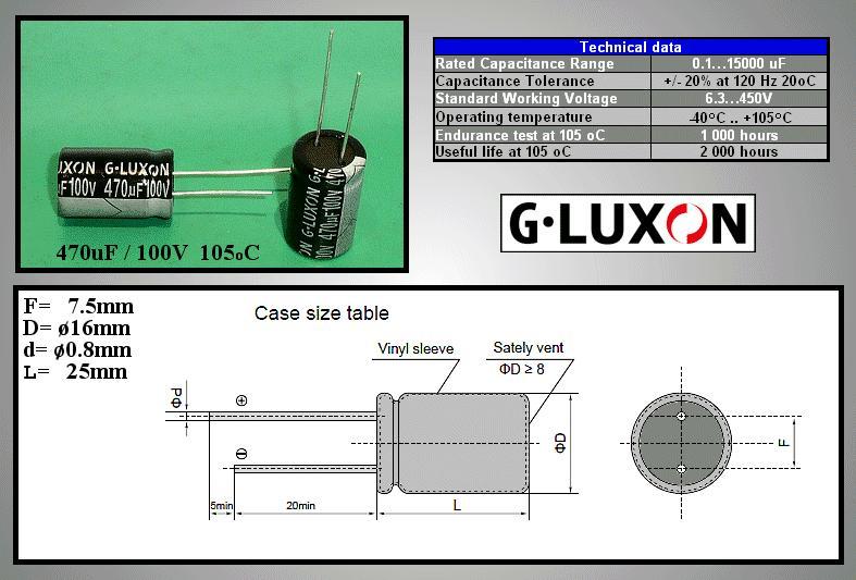 ELKO 470uF 100V 105°C 16x26 álló 470/100P-105