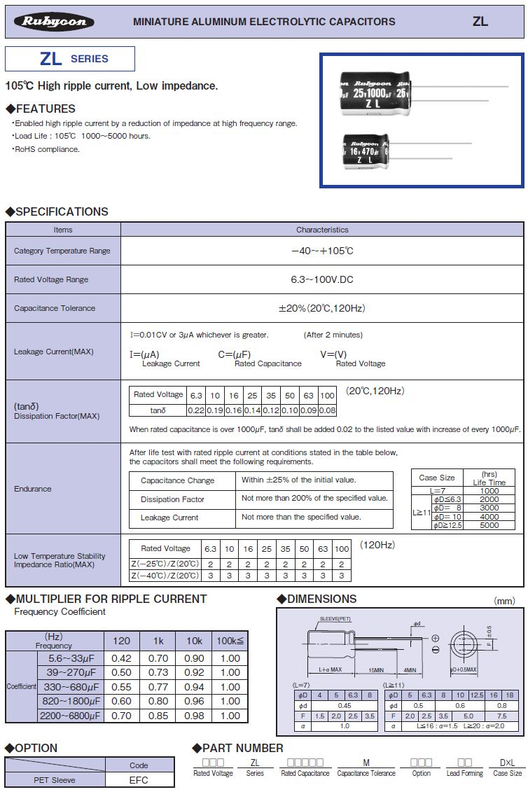 ELKO 560uF 35V 105°C 10x20 Low-Esr ZL 560/35P-105ESR