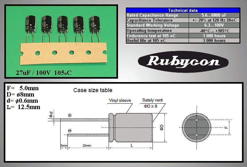 ELKO 27uF 100V 105°C Low-Imp. álló 27/100P-105 -
