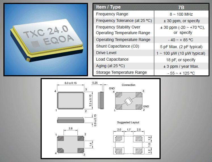 X-TAL 24.000MHz (5x3.2x0.9mm) 24.000 X-TAL