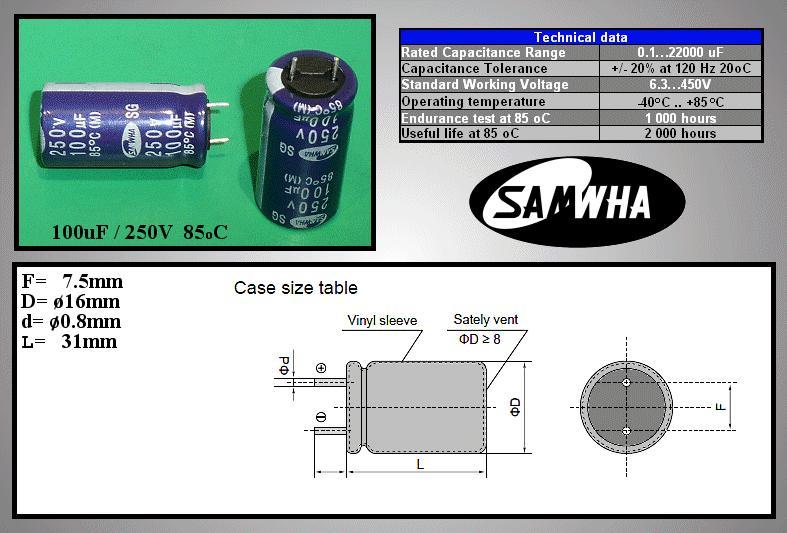 ELKO 100uF 250V 85°C 16x32 álló 100/250P S