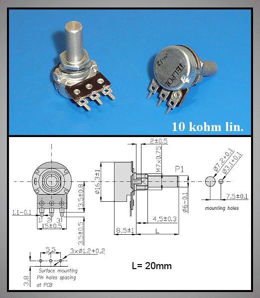 Potméter 10K lineáris mono, tengely 13mm, O profil, PCB JPM-95/10K-LIN-1