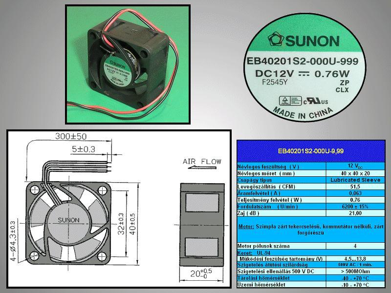 12V ventilátor 40x40x20 EB40201S2-999 CY 4020/12-S2-999