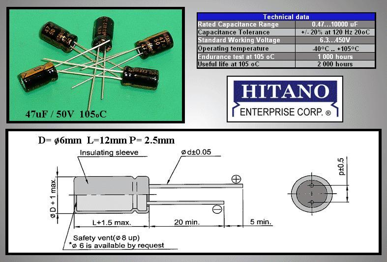 ELKO 47uF 50V 105°C 6.3x11 Low-ESR EXR 47/50P-105ESR H -