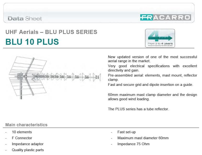 UHF DVB-T Yagi tetőantenna 470-862MHz ANT-BLU10PLUS
