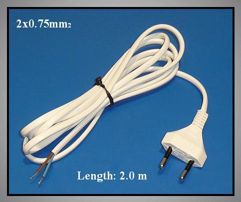 Hálózati kábel 2x0.75, hossza: 2,0m, fehér, forrasztható véggel CABLE-700/2.0W 2X075