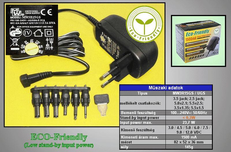 110...240VAC stabilizált tápegység 3...12VDC 1.5A 18W P.SUP.1500