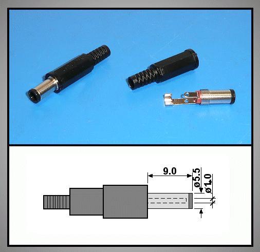 DC dugó+törésgátló 5.5x3.3x1.0mm, 9.0mm TÜSKÉS!!!!!! CSAT-P0055/33T