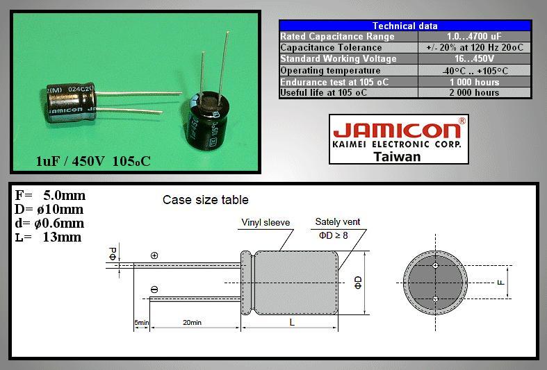 ELKO 1uF 450V 105°C 10x13 álló 1/450P-105 X -