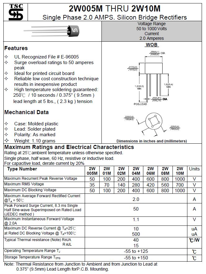 Egyenirányító diódahíd 800V 2A (50Ap t=8.3ms) kerek 2W08M B800C2000R