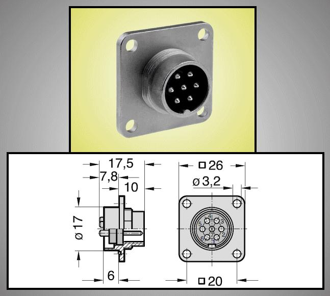 M18 C091D 7p. csatlakozó PCB dugó CSAT-M1807M-PCB -