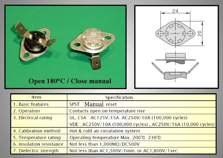 OPEN 180°C / Kézi RESET (KSD301M180BBT-R) BT L-180VM