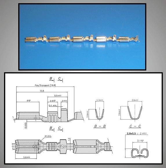 Kábelsaru 2.8/0.8 hüvely 0.5-1.0mm2 CS-K1280810