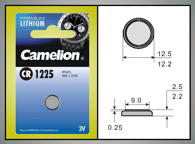 3V 45mAh lítium elem CR1225-C5 Camelion BAT CR1225
