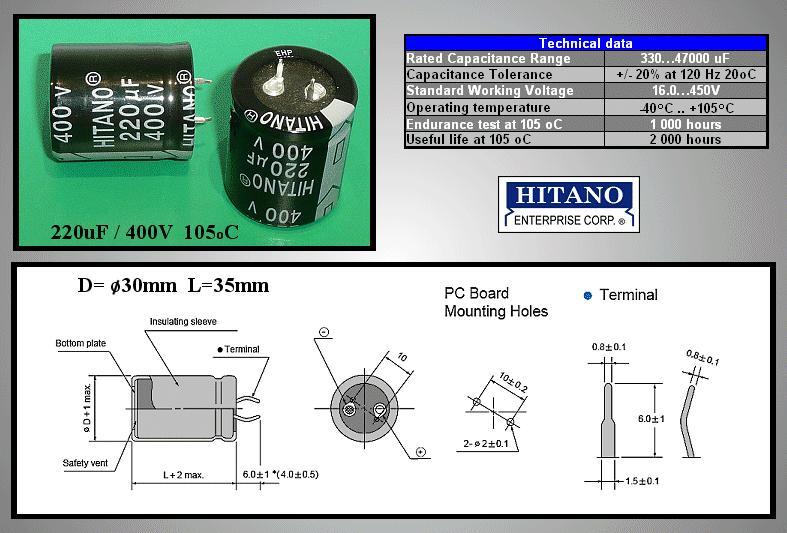 ELKO 220uF 400V 105°C 25x40mm Snap-In 220/400P-105 H -