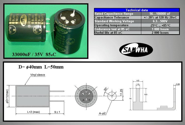 ELKO 33000uF 35V 85°C 40x50 4p. Snap-in 33000/35P